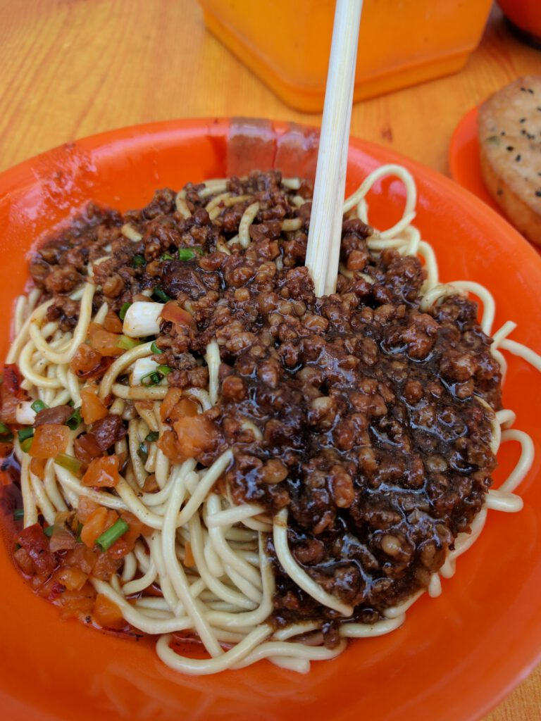 Hot dry noodles, with the works